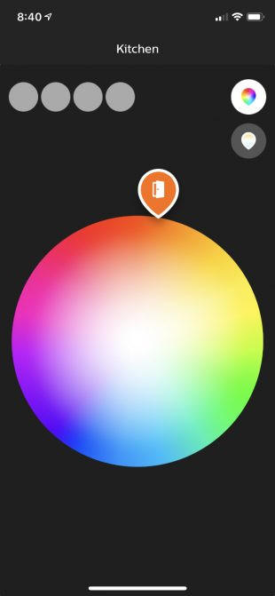 Phillips Hue color picker on mobile